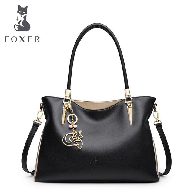 FOXER Brand Women's Shoulder Bags Cowhide Leather Handbags Lady's Crossbody Bags Female Fashion Crossbody Totes Top Handle Purse