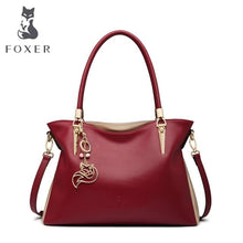 Load image into Gallery viewer, FOXER Brand Women's Shoulder Bags Cowhide Leather Handbags Lady's Crossbody Bags Female Fashion Crossbody Totes Top Handle Purse