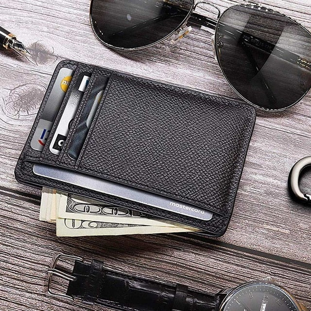 Fashion Men Card Holder Durable PU Leather 6 Cards Slot Ultra-thin Lichee Pattern Wallet 8.3x11.8x0.5CM Card Holders Cover