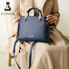 Load image into Gallery viewer, FOXER Women Fashion Cow Leather Handbag Top Handle Purse Commute Cross body Bag Elegant Ladies Shoulder Bag Female Totes