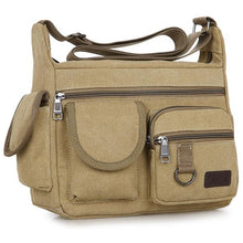 Load image into Gallery viewer, Men Canvas Shoulder Bag Travel Handbags Multifunction Messenger Bags Solid Zipper Top-handle Pack Casual Crossbody Bags
