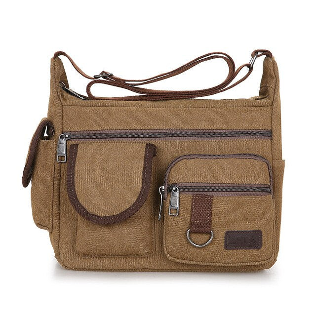 Men Canvas Shoulder Bag Travel Handbags Multifunction Messenger Bags Solid Zipper Top-handle Pack Casual Crossbody Bags