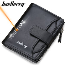 Load image into Gallery viewer, 2020 Baellerry Men Wallets Fashion Short Desigh Zipper Card Holder Men Leather Purse Solid Coin Pocket High Quality Male Purse