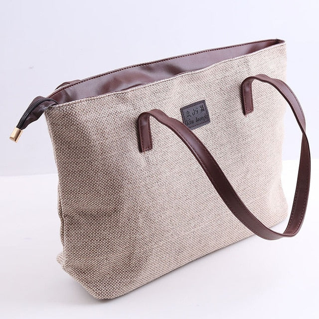 Canvas Women Bag Large Capacity Women's Shoulder Bag Female Casual Totes Appliques Portable Shopping Bag Lady Casual HandBag
