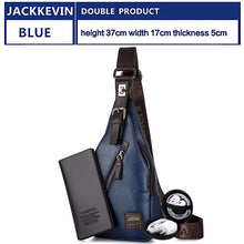 Load image into Gallery viewer, JackKevin Men's Fashion Crossbody Bag Theftproof Rotatable Button Open Leather Chest Bags Men Shoulder Bags Chest Waist Pack