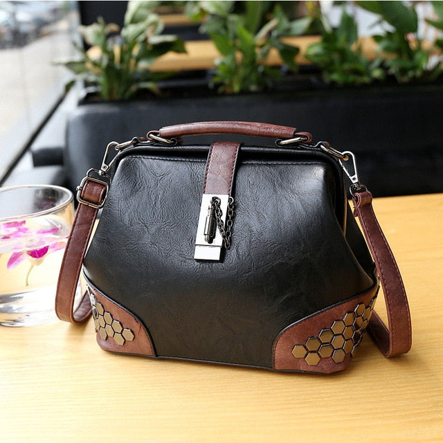 Classic Vintage Design Pu Leather Crossbody for Women Fashion Wild High Quality Shoulder Handbags Casual Female Top-Handle