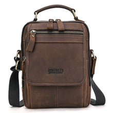 Load image into Gallery viewer, Genuine Leather Men's Messenger Handle Handbag Male Cross Body Bag for IPAD Man Crazy Horse Business Briefcase Big Shoulder Tote