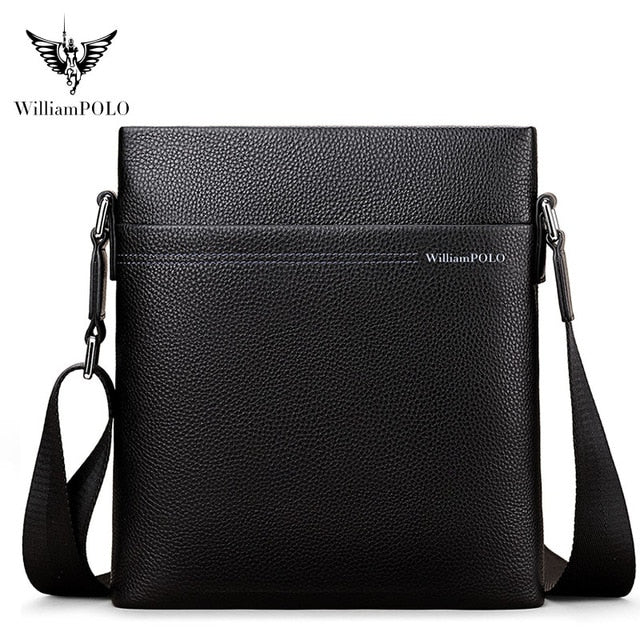 Williampolo Men's shoulder bag 100% leather leisure business multifunctional large capacity messenger bag pl01d