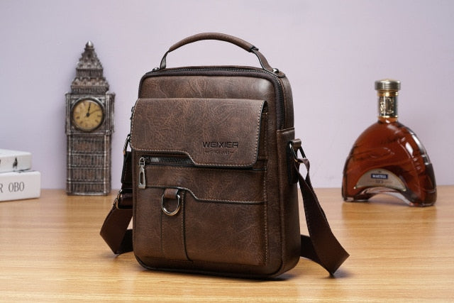 2020 New Men's Messenger Bag European and American PU Leather Retro Large-capacity Shoulder Bag Men's Handbag Travel Backpack