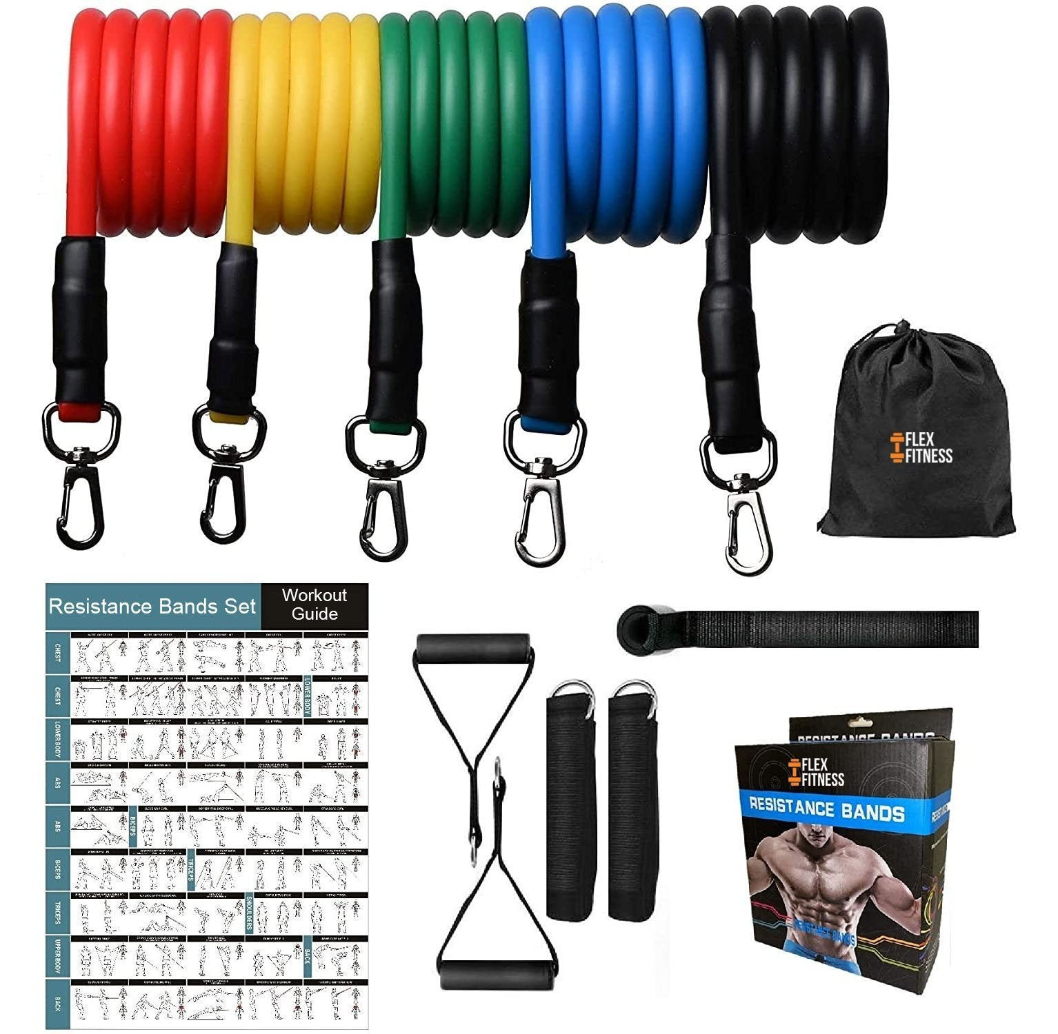 Full Body Workout Resistance Bands Set (11 Pcs)