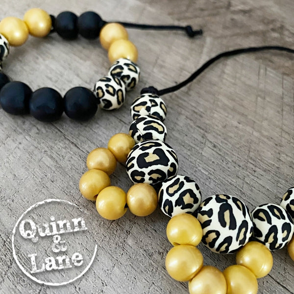 DUO | Kids Fidget Necklace & Bracelet SET - Miss Fancy Pants - Metallic Gold & Leopard