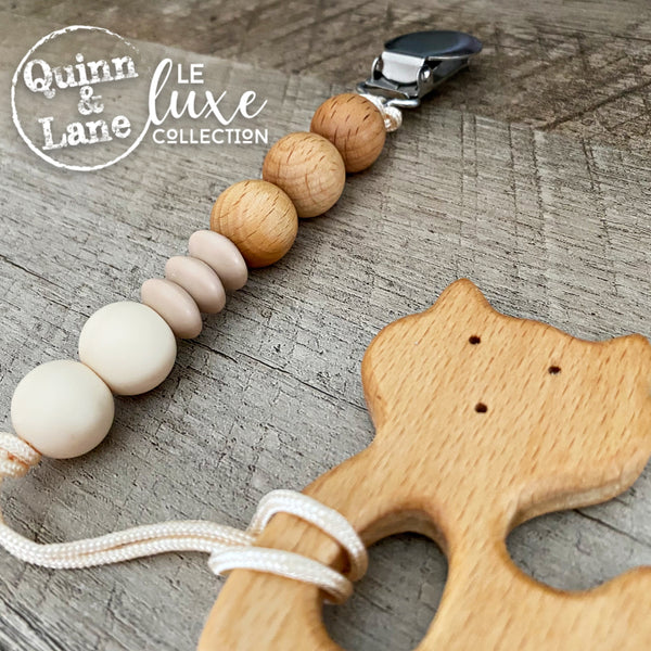 PACIFIER | Teething Pacifier Clip & Teether - Woodland Fox | LE Luxe |