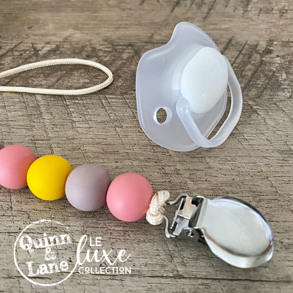 PACIFIER | Teething Clip - Pink Mimosa | LE Luxe