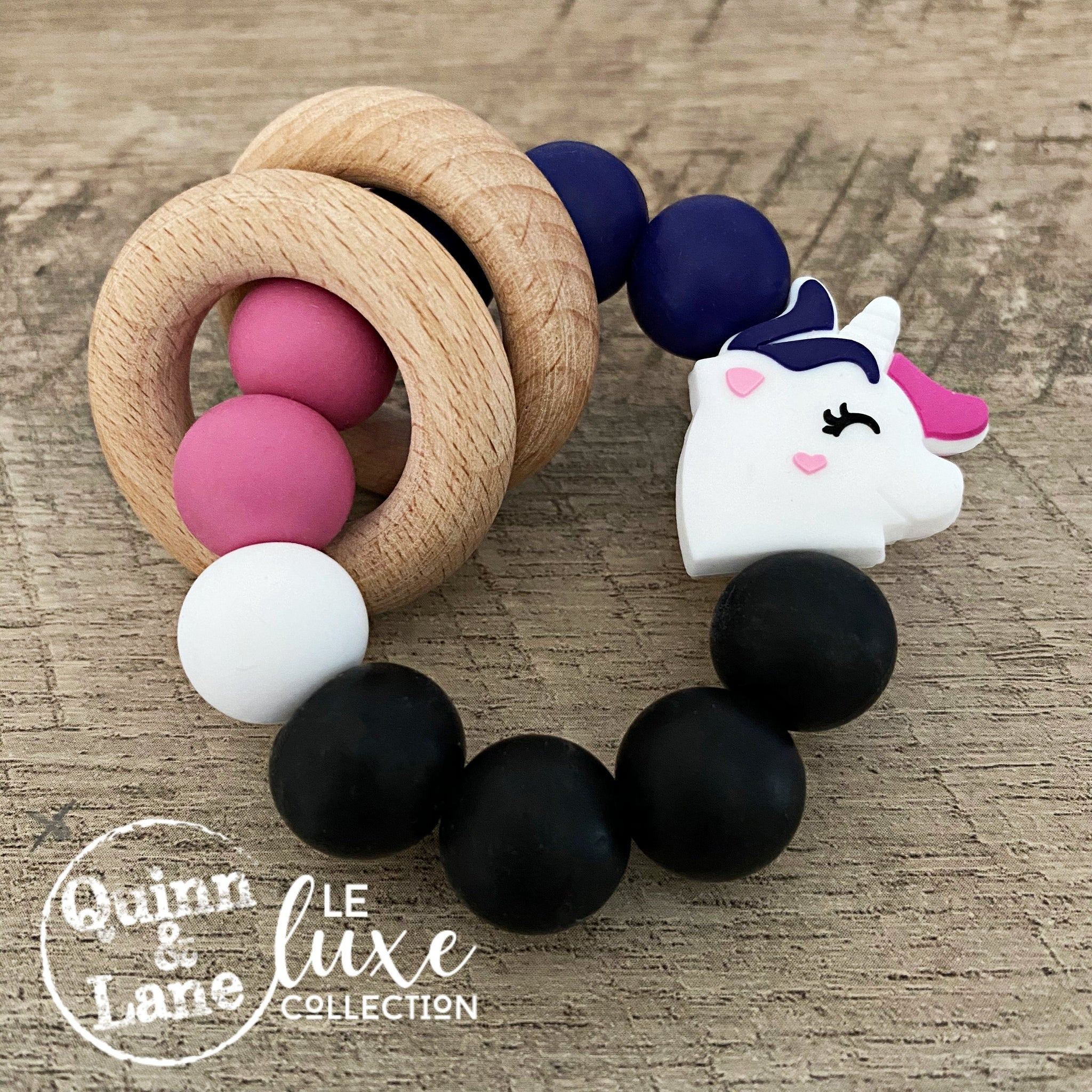 | Toys | Teething Ring - Unicorn Rattle Rings | LE Luxe | - Quinn & Lane