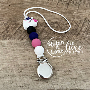 | Pacifier | Teething Clip - Unicorn | LE Luxe | - Quinn & Lane
