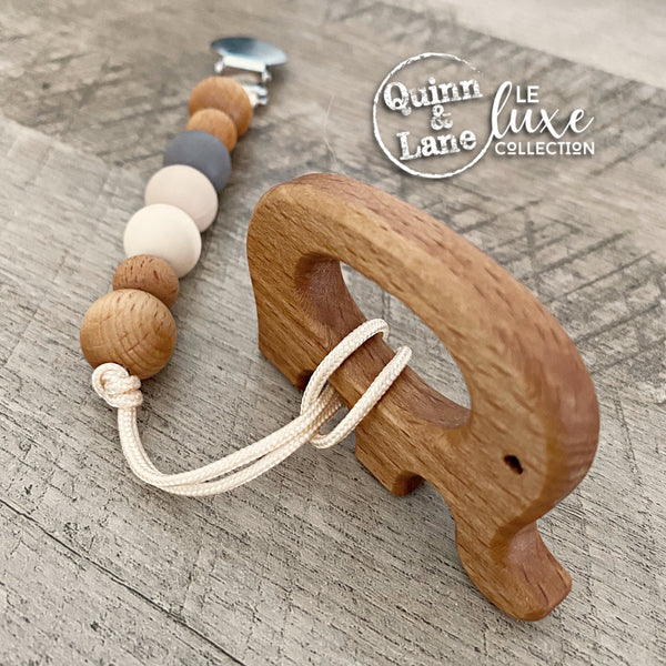 | Pacifier | Teething Clip & Teether - Woodlands | LE Luxe | MORE SHAPES | - Quinn & Lane