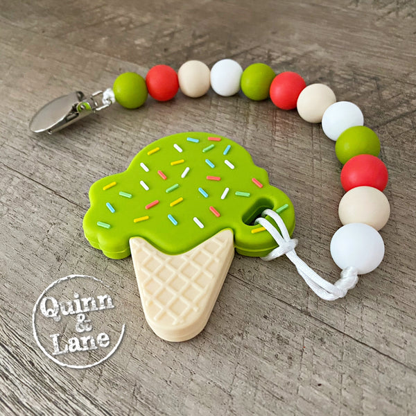 PACIFIER | Teething Clip & Teether - Pistachio Ice Cream Cone