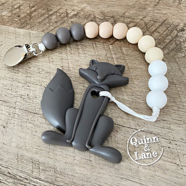 PACIFIER | Teething Clip & Teether - Dark Gray Fox