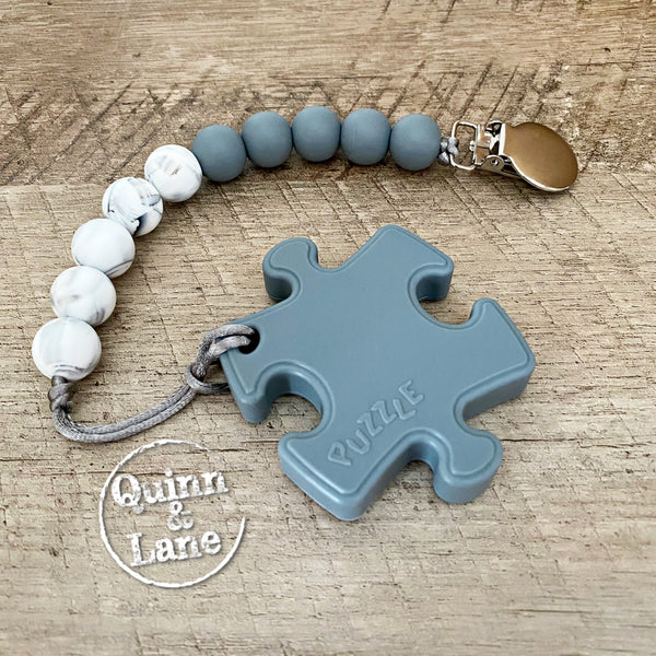 PACIFIER | Teething Clip & Teether - Gray Puzzle Piece
