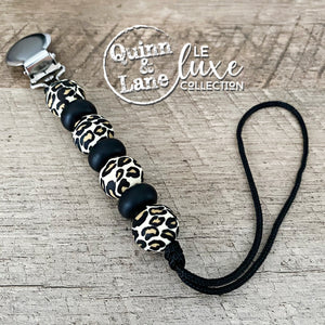 PACIFIER | Teething Clip - Black Leopard | LE Luxe