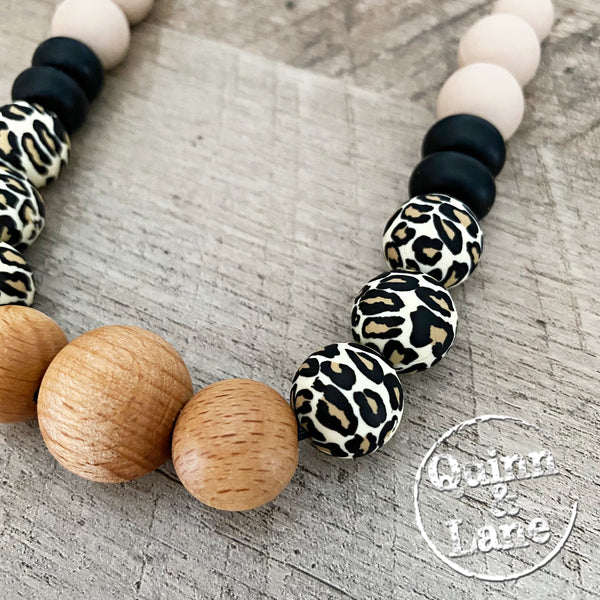 ADULT | Silicone Teething & Nursing Necklace - Wood Leopard