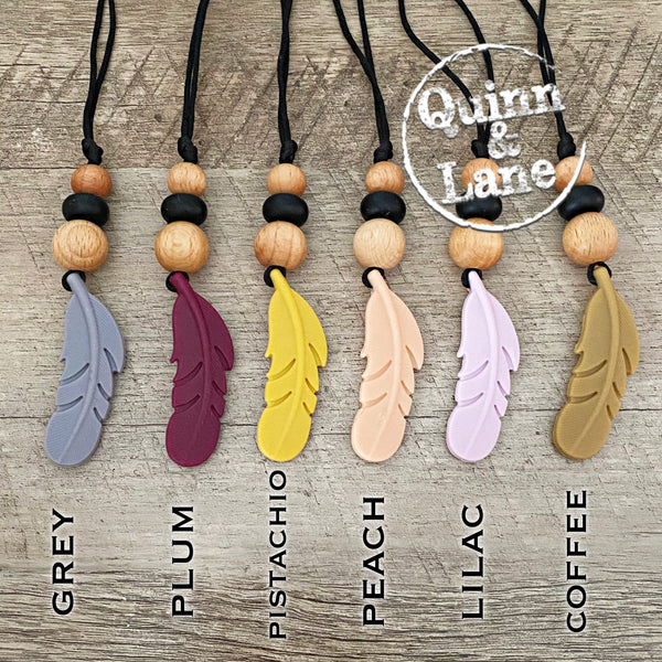 ADULT | Silicone Teething & Nursing Necklace - Feather Pendant | MORE COLORS