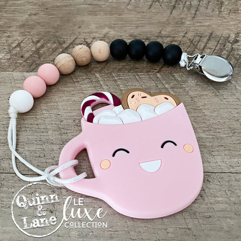 PACIFIER | Teething Clip & Teether - Pink Love in a Mug | LE Luxe