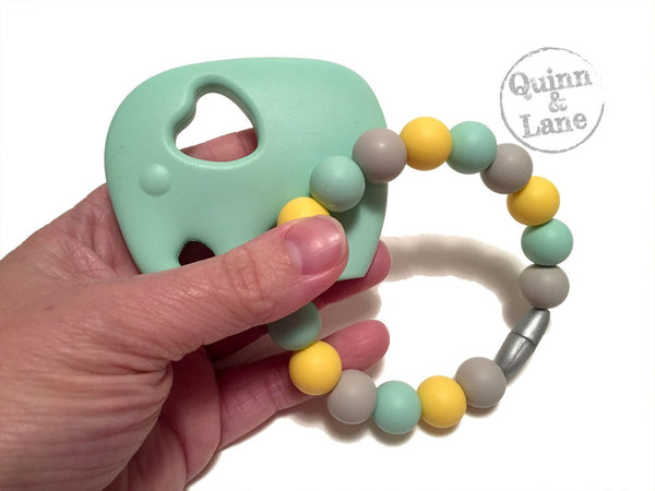 | Toys | Teething Ring + Teether - Elephant | TURQ/MINT/NAV |