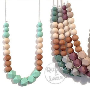 ADULT | Silicone Teething & Nursing Necklace - Block Wood Hex | MORE COLORS