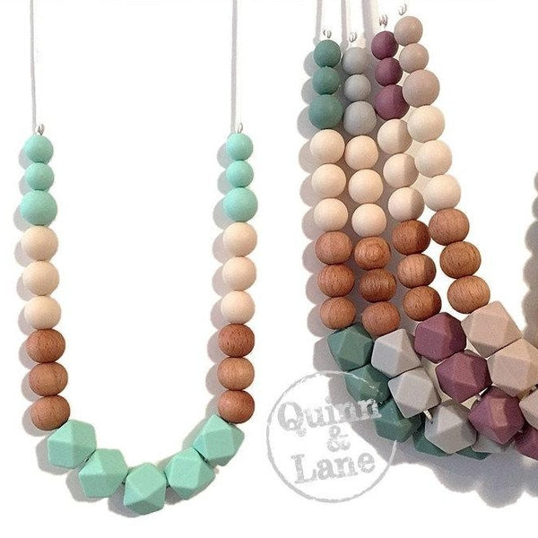 | Adult | Silicone Teething & Nursing Necklace - Block Wood Hex | MORE COLORS | - Quinn & Lane