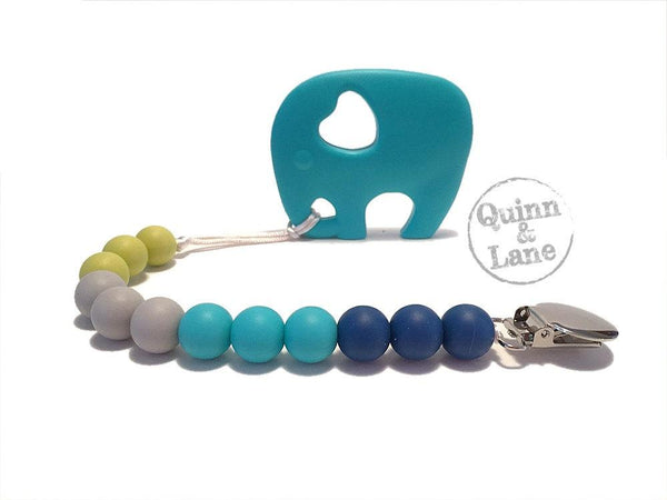 | Pacifier | Teething Clip & Teether - Elephant  | SAPPHIRE/TURQUOISE/MOON/PEAR | - Quinn & Lane