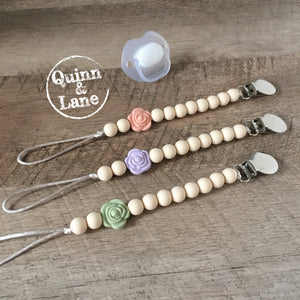 | Pacifier | Teething Clip -  Mini Rose | MORE COLORS | - Quinn & Lane