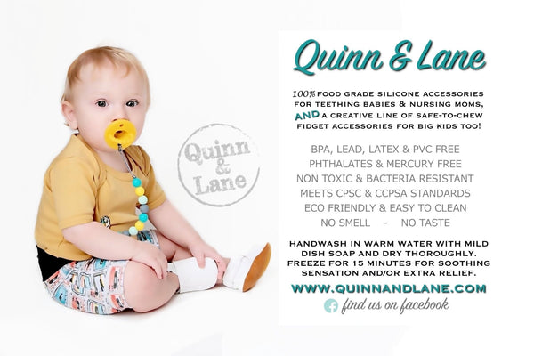 | Pacifier | Teething Clip & Teether - French Fries - Quinn & Lane