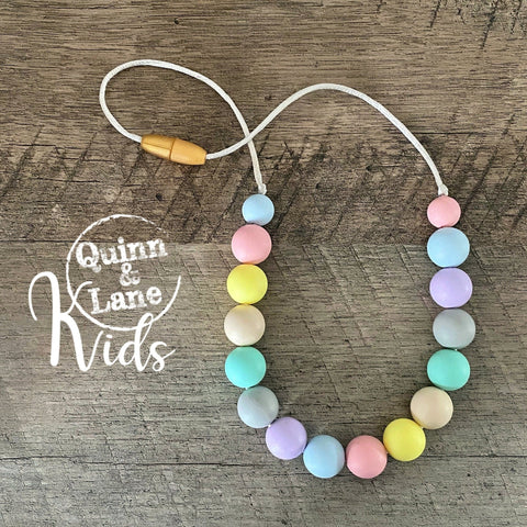 KIDS | Fidget Necklace - Pastel Rainbow