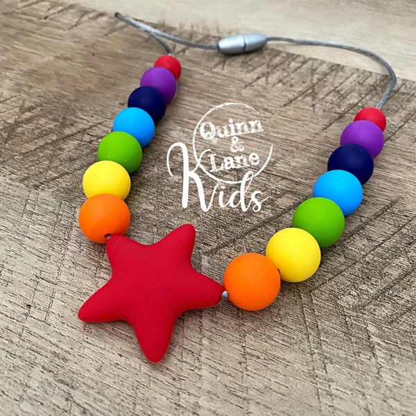 KIDS | Fidget Necklace - Bright Rainbow Star
