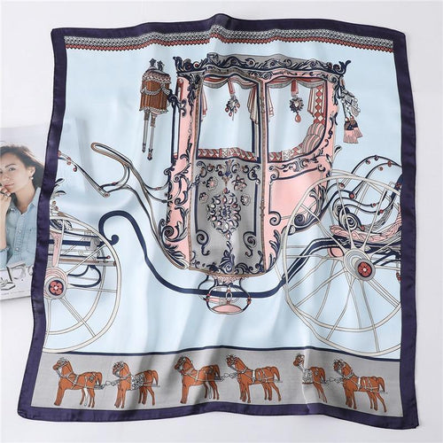 Silk Twill Scarf with Carriage Pattern - MatchMatch