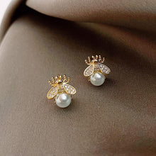 Load image into Gallery viewer, Bee Pearl Stud Earrings - MatchMatch