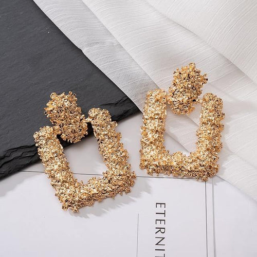 Statement Square Drop Earrings - MatchMatch