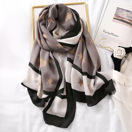 Star and Heart Cotton Scarf - MatchMatch