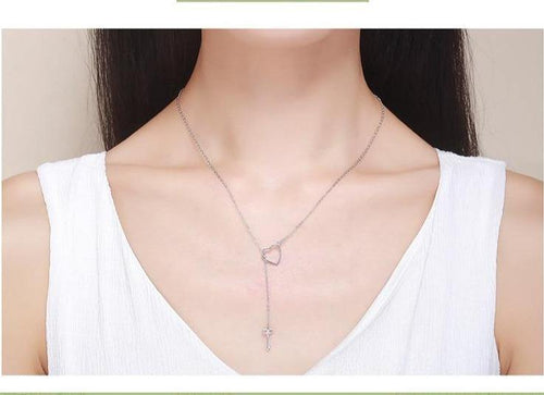Hollow Heart Key Pedant Necklace - MatchMatch