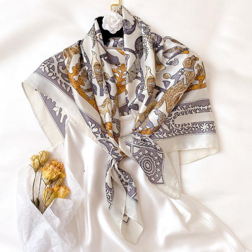 100% Silk Scarf Animal Pattern - MatchMatch