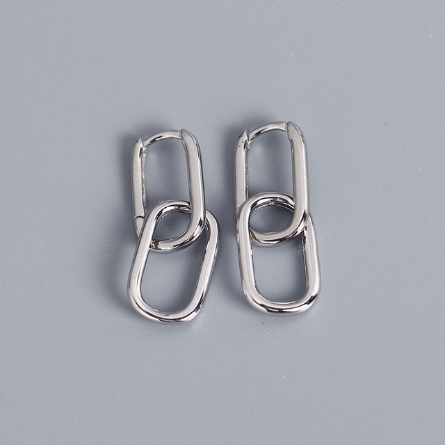 Oval Link Hoop Earrings