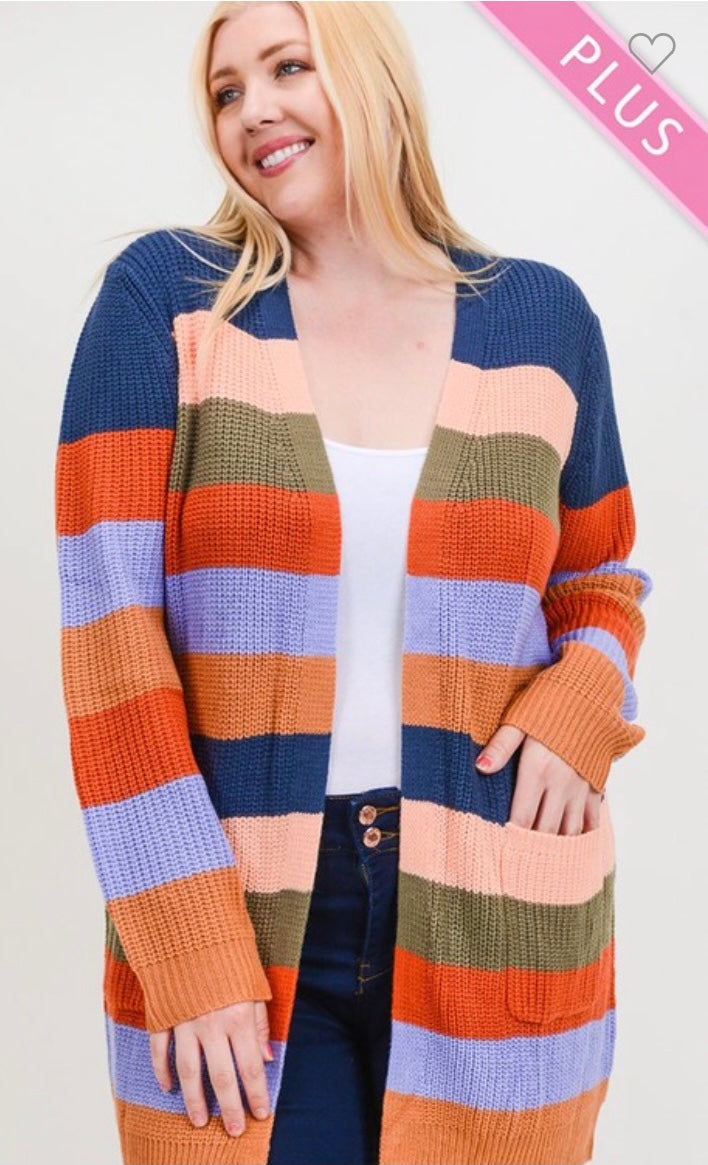 Curvy Striped Knit Cardigan