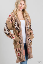 Load image into Gallery viewer, Lady May Aztec Fringe Cardigan