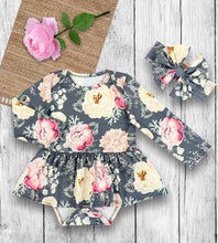 Load image into Gallery viewer, Gray Floral Onsie
