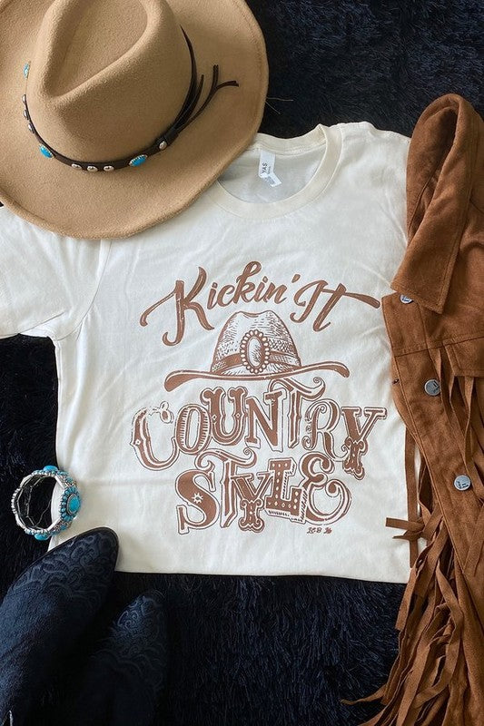 Kicking It Country Style Graphic Tee