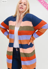 Load image into Gallery viewer, Curvy Striped Knit Cardigan