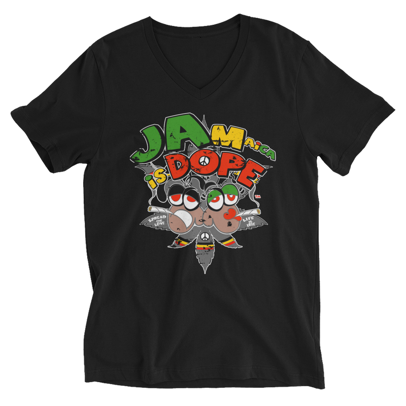 Reggae Jamaica Is Dope V-Neck T-Shirt for Him