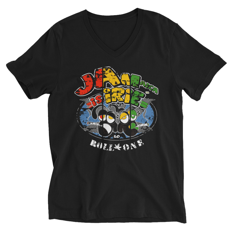 Rasta Jamaica Is iRie So Roll One V-Neck T-Shirt for Him