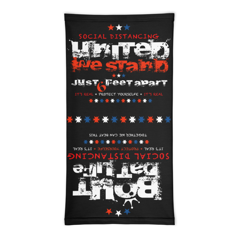 United We Stand Just 6 Feet Apart Two In One Neck Gaiter
